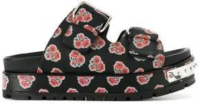 Alexander McQueen hobnail poppy print sandals