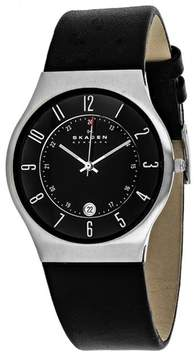 Skagen Slimline 233XXLSLB Men's Black Leather and Stainless Steel Watch