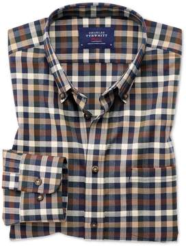 Charles Tyrwhitt Extra Slim Fit Button-Down Non-Iron Twill Brown Multi Check Cotton Casual Shirt Single Cuff Size XS