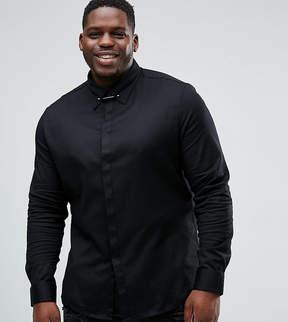 Asos PLUS Slim Shirt With Collar Bar In Black