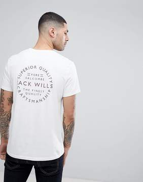 Jack Wills Westmore Back Graphic Text T-Shirt In White