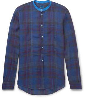 Massimo Alba Grandad-Collar Madras-Checked Washed-Linen Shirt