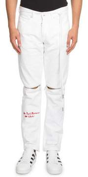 Off-White Embroidered Graphic Slim Jeans