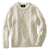 Lands' End Kids Cashmere Aran Cable Sweater-White