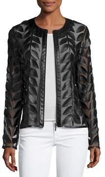 Neiman Marcus Leather Leaf-Trimmed Sheer Organza Jacket, Black