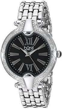 Burgi Black Dial Ladies Crystal Watch