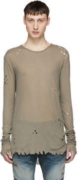 Balmain Khaki Long Sleeve Distressed T-Shirt
