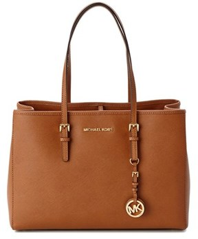 MICHAEL Michael Kors Jet Set Leather Tote. - BROWN - STYLE