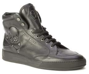 Philipp Plein Men's Leather Icon Sneaker Shoes Black.