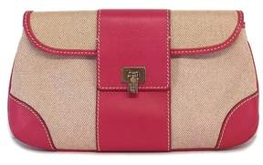 Lambertson Truex Pink & Tan Leather Clutch