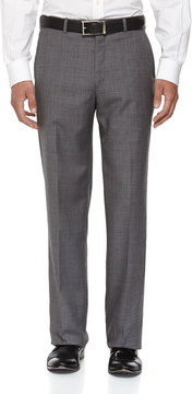 Neiman Marcus Classic-Fit Flat-Front Wool Sharkskin Pants, Gray