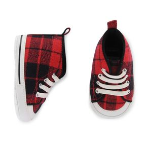 Carter's Baby Boy Red Plaid High-Top Crib Shoes