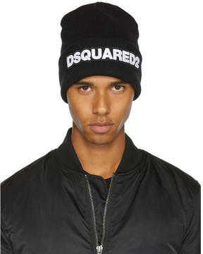 DSQUARED2 Black Logo Beanie