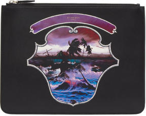 Givenchy Black Hawaii Crest Zip Pouch