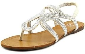 Material Girl Serena Women Open-toe Canvas Silver Slingback Sandal.