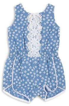Little Lass Little Girl's Printed Chambray Romper