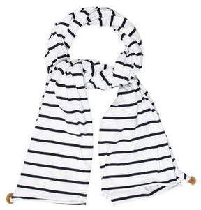 Donni Charm Mink Fur-Trimmed Striped Scarf w/ Tags