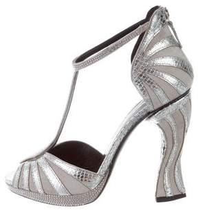 Rodarte Crystal-Embellished Embossed Sandals