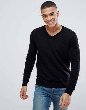 New Look Cotton V Neck Sweater In Black