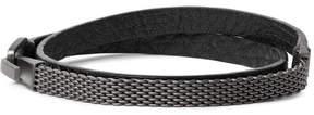 Miansai Moore Leather Rhodium-Plated Wrap Bracelet