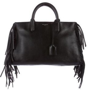 Saint Laurent Medium Cabas Rive Gauche Fringe Bag - BLACK - STYLE