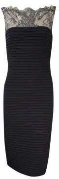 Calvin Klein Women's Pleated Lace Illusion Sheath Dress