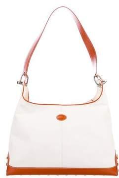 Tod's Leather-Trimmed Canvas Shoulder Bag