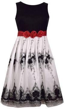Bonnie Jean Girls 7-16 & Plus Size Velvet & Embroidered Mesh Dress
