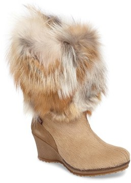 Pajar Women's Angelina Genuine Fox Fur Wedge Boot