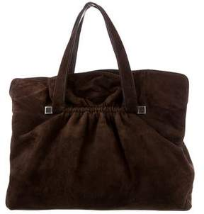 Giorgio Armani Leather-Trimmed Suede Bag