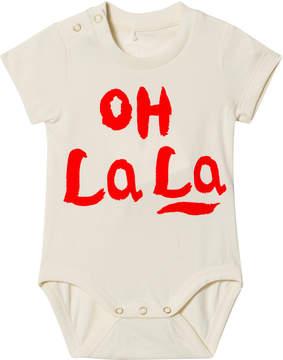 Mini Rodini Off-White Oh La La Short Sleeve Baby Body