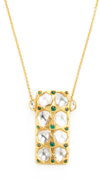 Amrapali Women's 18K Yellow Gold, Emerald & 2.01 Total Ct. Diamond Pendant Necklace