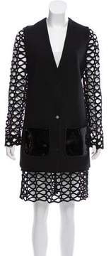 David Koma Guipure Lace-Trimmed Wool Skirt Suit