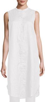 Eileen Fisher Sleeveless Mandarin-Collar Linen Tunic