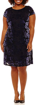 Melrose Short Sleeve Floral Shift Dress-Plus