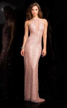 SCALA - 48696 Illusion Neckline Sequin Prom Dress