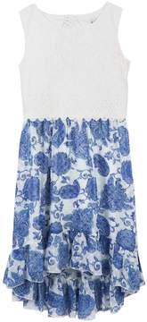 Speechless Girls 7-16 Lace Top High-Low Flounce Paisley Print Dress