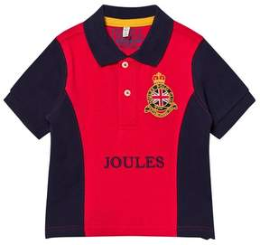 Joules Red and Navy Crest Embroidered Polo