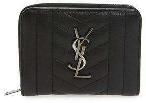Saint Laurent Women's Monogram Quilted Leather Wallet - Black - BLACK - STYLE