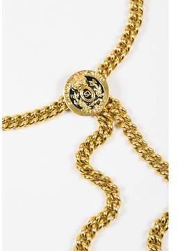St. John Pre-owned Gold Tone Chain Link Medallion Belt.