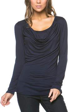 Celeste Navy Long-Sleeve Drape Top - Women