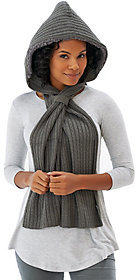 Muk Luks Faux Fur Lined Hooded Scarf w/Loop Closure
