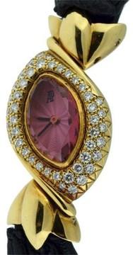 Audemars Piguet Classique 18K Yellow Gold Pink Sapphire and Diamonds 17mm x 23mm Womens Watch