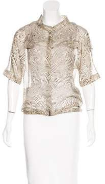 CNC Costume National Silk Abstract Print Top