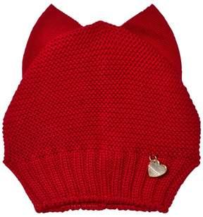 MonnaLisa Red Knit Bow Beanie