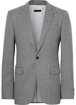 Calvin Klein Grey Slim-Fit Houndstooth Virgin Wool Blazer