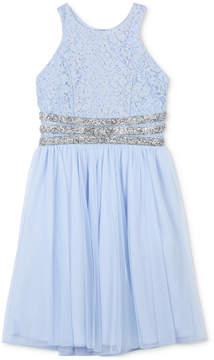 Speechless Glitter Lace Bodice Dress, Big Girls