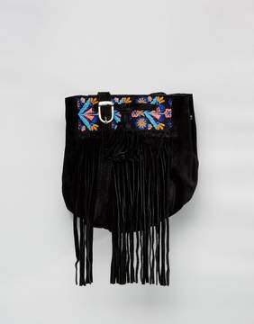 Park Lane Tassel Embroidered Suede Crossbody Bag