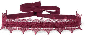 Anna Sui Metallic Lace And Grosgrain Choker - Purple