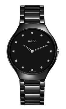 Rado True Thinline Quartz Black Dial Black High-tech Ceramic Ladies Watch